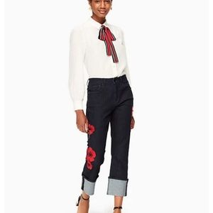 kate spade poppy embroidered jean pants size 28